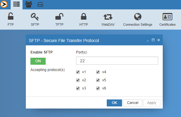 ProVide supports SFTP v1, v2,v3,v4,v5, and v6. You may also choose to allow oner or several SFTP protocols individually. Users can be set either using ProVide Server, from the Windows AD or from virtual users instantiated from files, systems or other system databases